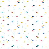 Seamless pattern with colorful cartoon fishes. Abstract background. Nautical design. Vector illustration Stock Photos