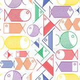 Seamless pattern of colorful cartoon fishes Stock Images