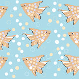 Seamless pattern with colorful cartoon fishes Stock Image