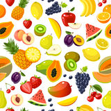 Seamless pattern with colorful cartoon fruits Royalty Free Stock Photography