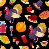 Pattern for thanksgiving day. Seamless pattern with colorful cartoon object for thanksgiving day.Vector illustration stock illustration