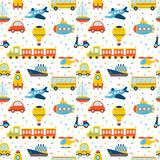 Seamless pattern with colorful cartoon transport. Cute backgroun Stock Photography