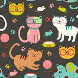 Seamless pattern with colorful cats Royalty Free Stock Photo