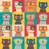 Seamless pattern with colorful cats in squares. Illustration, eps Stock Photography