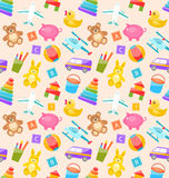 Seamless Pattern with Colorful Children Toys Stock Image