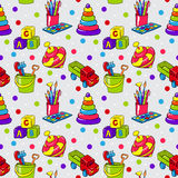 Seamless pattern with colorful childrens toys. For playing stock illustration