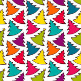 Seamless pattern with colorful Christmas trees. Vector illustration, template for decoration and design Stock Photo