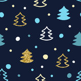 Seamless pattern with colorful Christmas trees. Vector print. Seamless pattern with colorful Christmas trees. Vector print in hand-drawn style Royalty Free Stock Images