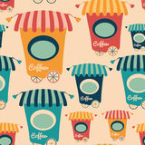 Seamless pattern with colorful coffee shops. Royalty Free Stock Image