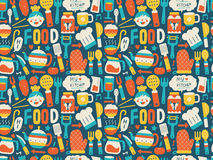Seamless pattern with colorful cooking icons. Cartoon vector illustration Royalty Free Stock Photography