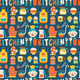 Seamless pattern with colorful cooking icons Royalty Free Stock Photos