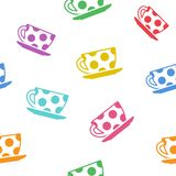 Seamless pattern with colorful cups. Vector illustration vector illustration