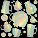 Seamless pattern of colorful cups and teapots. Background and concept for kitchen and restaurants. stock illustration