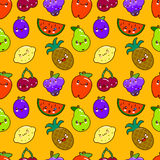 Seamless pattern colorful cute fruits characters Kawaii. apple, pear, strawberry, orange, banana, watermelon, pineapple Royalty Free Stock Photos