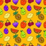 Seamless pattern colorful cute fruits characters Kawaii. apple, pear, strawberry, orange, banana, watermelon, pineapple. Seamless pattern colorful cute ts Stock Photos