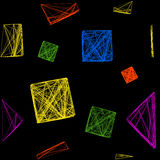 Seamless pattern of colorful 3D cubes, a cube made of lines. Illustration on isolated black background Stock Images