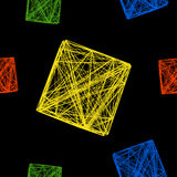 Seamless pattern of colorful 3D cubes, a cube made of lines Royalty Free Stock Photo