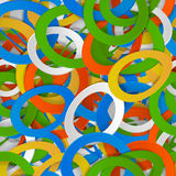 Seamless pattern of colorful 3d rings Royalty Free Stock Image