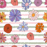 Seamless pattern with colorful dahlia. Seamless pattern with colorful daisies and dahlia vector illustration