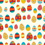 Seamless pattern of colorful decorated eggs stock illustration