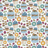 Seamless pattern of colorful desserts Royalty Free Stock Image