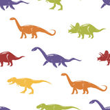 Seamless pattern with colorful dinosaurs on white background. Stock Photo