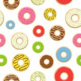 Seamless pattern colorful donuts with glaze, sprinkles on white background. Royalty Free Stock Images
