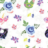 Seamless pattern with colorful doodle birds. Background with doodle decorative birds stock illustration