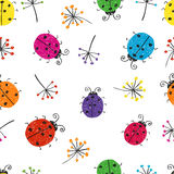 Seamless pattern with colorful doodle bugs. Vector background with cute ladybugs Royalty Free Stock Image