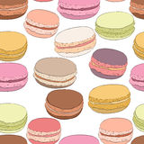 Seamless pattern of colorful doodle macaroons. Sketch macaroon. Royalty Free Stock Photos