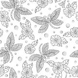 Seamless illustration with   dragonflies and flowers ,dark outlines on light background. Seamless pattern with colorful dragonflies and flowers ,dark outlines on Royalty Free Stock Image