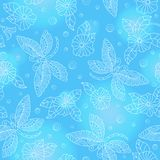 Seamless illustration  with colorful dragonflies and flowers ,light  outlines on blue background. Seamless pattern with colorful dragonflies and flowers ,light Stock Illustration