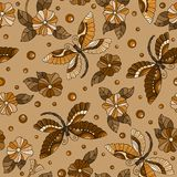 Seamless illustration  with colorful dragonflies and flowers ,monochrome,tone brown. Seamless pattern with colorful dragonflies and flowers ,monochrome,tone Royalty Free Stock Photo