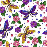 Seamless illustration with colorful dragonflies and flowers on a white background. Seamless pattern with colorful dragonflies and flowers on a white background Royalty Free Stock Image