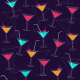 Seamless pattern with colorful drinks. Vector seamless pattern with colorful cocktails on dark blue background Royalty Free Stock Photos
