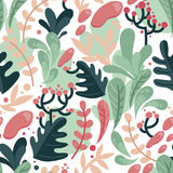 Seamless pattern with colorful fantastic leaves in flat style Royalty Free Stock Photography