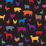 Seamless pattern with colorful farm animals. Based on hand drawn elements. Great for farm products and grocery advertising, children products, romantic cards Royalty Free Stock Photo