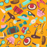 Seamless Pattern Colorful of Fashion accessory bac Royalty Free Stock Photography