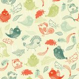 Seamless pattern with colorful feathers and birds Royalty Free Stock Photo