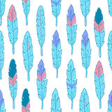 Seamless pattern with colorful feathers Royalty Free Stock Photography