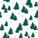Seamless pattern with colorful fir trees. Vector illustration Royalty Free Stock Photography