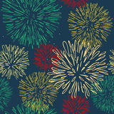 Seamless pattern with colorful fireworks Royalty Free Stock Photos