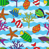Seamless pattern with colorful fish and coral. On wavy background Stock Photography