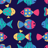 Seamless pattern with colorful fish Stock Images