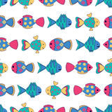 Seamless pattern with colorful fish Stock Photos