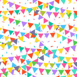 Seamless pattern with colorful flags. Vector pattern with bunting on white background. Holiday background for web design. Greeting card and party decoration Stock Photos