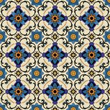 Seamless pattern from colorful floral Moroccan, Portuguese tiles, Azulejo, ornaments. Royalty Free Stock Images