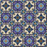 Seamless pattern from colorful floral Moroccan, Portuguese tiles, Azulejo, ornaments. Royalty Free Stock Image