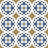 Seamless pattern from colorful floral Moroccan, Portuguese tiles, Azulejo, ornaments. Royalty Free Stock Photos