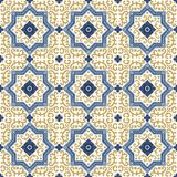 Seamless pattern from colorful floral Moroccan, Portuguese tiles, Azulejo, ornaments. Stock Photography